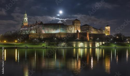 Wawel Royal Castle in Krakow at night, Poland
