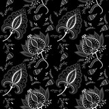 Black and white seamless pattern with hand drawn flower henna style. Background, textile, cover, wrapper.