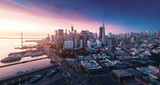 San Francisco panorama at sunrise with waterfront and downtown. California theme background. Art photograph. - 127871556