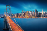 San Francisco at sunrise with Bay Bridge in foreground. Amazing view to famous America city. California theme. Art Photography. - 127871569
