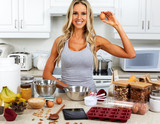 Girl cooking gluten free recipe.