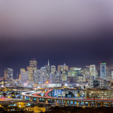 Traffic Trails Into San Francisco Skyline