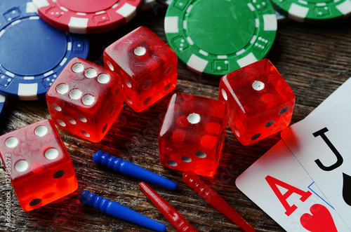 Poster Poker Chips and Dice