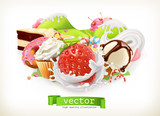Sweet shop. Confectionery and desserts, Strawberry and milk, ice cream, whipped cream, cake, cupcake, candy. 3d vector illustration