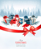 Holiday Christmas background with a gift boxes.and red bow Vecto