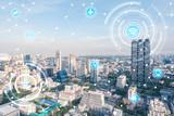 Fototapety smart city and wireless communication network, IoT(Internet of T