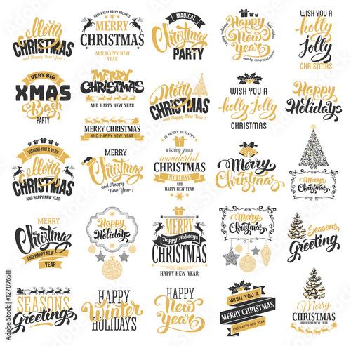Poszter Christmas badges set