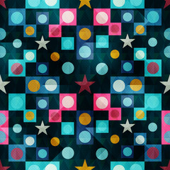 polygons, stars and circles on a dark background Seamless geometric pattern