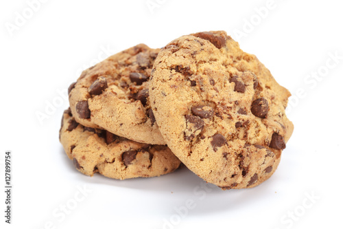 Poster Chocolate chip cookie on white