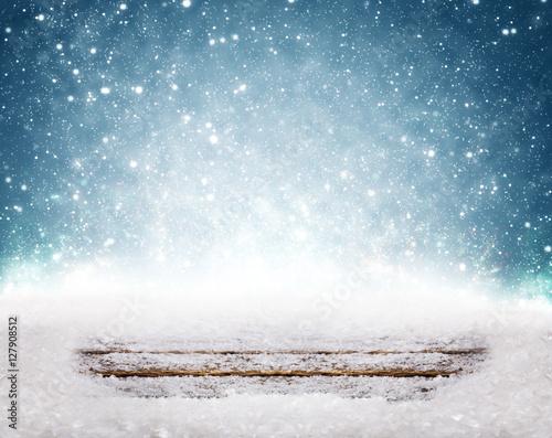 Weihnachtshintergrund, Schnee, Holz,