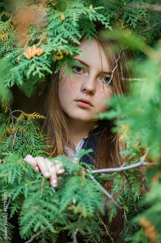 Poster Portrait of a girl in the branches of a cypress