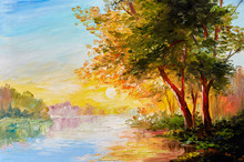"Постер, картина, фотообои ""Oil painting landscape, river in the spring forest with sunset, afternoon"""