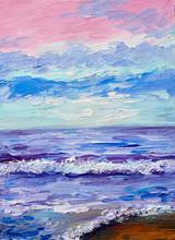 "Постер, картина, фотообои ""Oil painting of the sea, colorful sunset, watercolor art"""