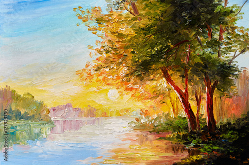 Fototapeta Oil painting landscape, river in the spring forest with sunset, afternoon