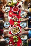 Friends having xmas dinner