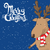 Cartoon illustration for holiday theme with Deer on winter backg