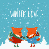 Cartoon illustration for holiday theme with fox on winter backgr