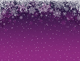 Purple christmas background with snowflakes and stars, vector il