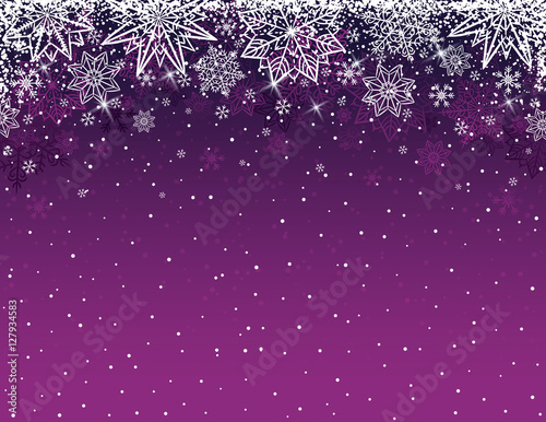 Poster Purple christmas background with snowflakes and stars, vector il