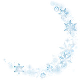 Blue winter snowflakes on white - 127937709