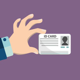 Illustration of hand holding the id card