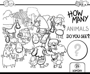 count farm animals for coloring