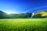 Fototapety Skogarfoss waterfall and summer sunny day, Iceland