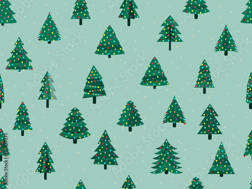 Materiał do szycia Seamless pattern with Christmas trees in a flat style. Decorated Christmas tree. Vector illustration.