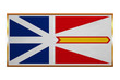 Newfoundland and Labrador flag with golden frame