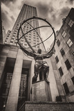 The famous Statue of Atlas holding the celestial spheres in New York City