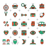 Bohemian style vector icons. E-commerce outline web icons. Set for e-shop design in a boho and tribal style. Bohemian icons good for internet shopping projects. Vector illustration