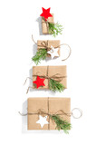 Christmas tree gift boxes Flat lay background