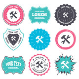 Label and badge templates. Repair tool sign icon. Service symbol. Hammer with wrench. Retro style banners, emblems. Vector