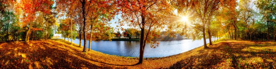 Landschaft im Herbst, sonniges Panorama am Waldrand mit Blick auf einem Fluss © John Smith