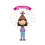 happy birthday card with cute and happy girl over white background. colorful design. vector illustration