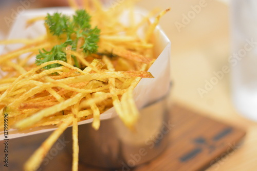 Poster fried potatoes