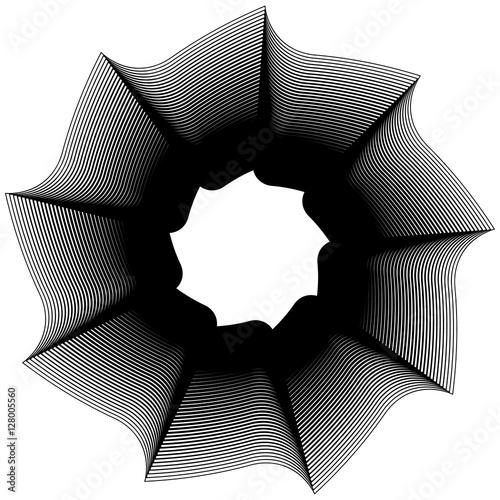 Geometric circular element - Rotating spiral, swirl shape - 128005560