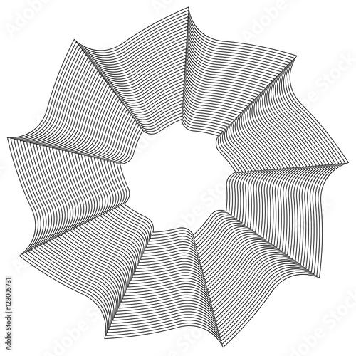 Geometric circular element - Rotating spiral, swirl shape - 128005731
