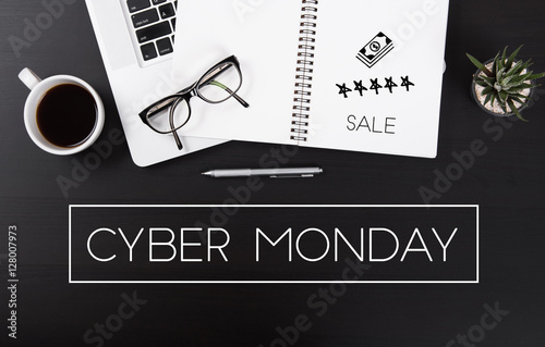 Modern Office desk with Cyber Monday message homepage on the table business sale offer special concept.