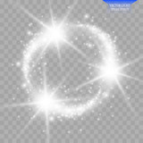 Vector set of glowing light bursts with sparkles on transparent background.
