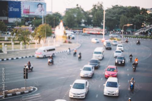 In de dag Abstract blur traffic jam in Bangkok Thailand.