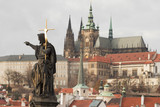 Statue of St.john the Baptist and Prague castle behind