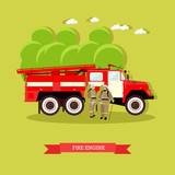 Vector illustration of red fire engine in flat style.