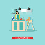 Vector illustration of cooking housewife and little son in kitchen.