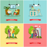 Vector set of family and housewife concept banners, posters.