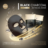 Anti-blackhead charcoal mask with black and gold sachet