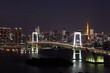 東京タワーとレインボーブリッジの日本の夜景 night view of Tokyo and rainbow bridge in Japan