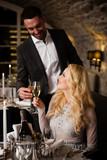 Couple celebrating in restaurant