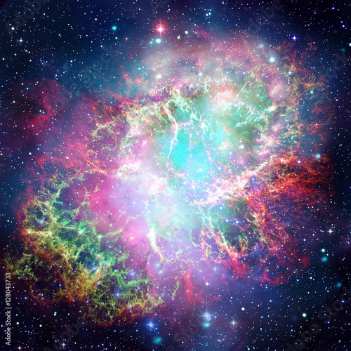 Colorful space nebula. Elements of this image furnished by NASA. Poster