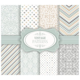 Set of 8 seamless background of blue and gray color in the style of vintage